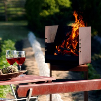 Rais Cube Outdoor Wood Fireplace / Wood Grill